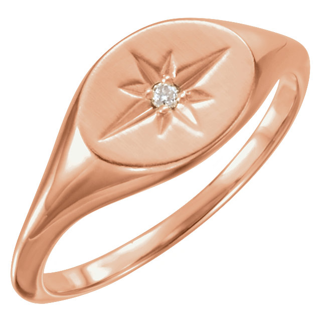 Fabulous 14 Karat Rose Gold .02 Carat Round Genuine Diamond Ring