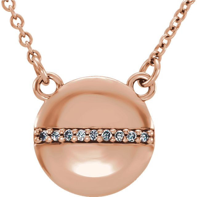 Wonderful 14 Karat Rose Gold .025 Carat Total Weight Diamond Circle 16