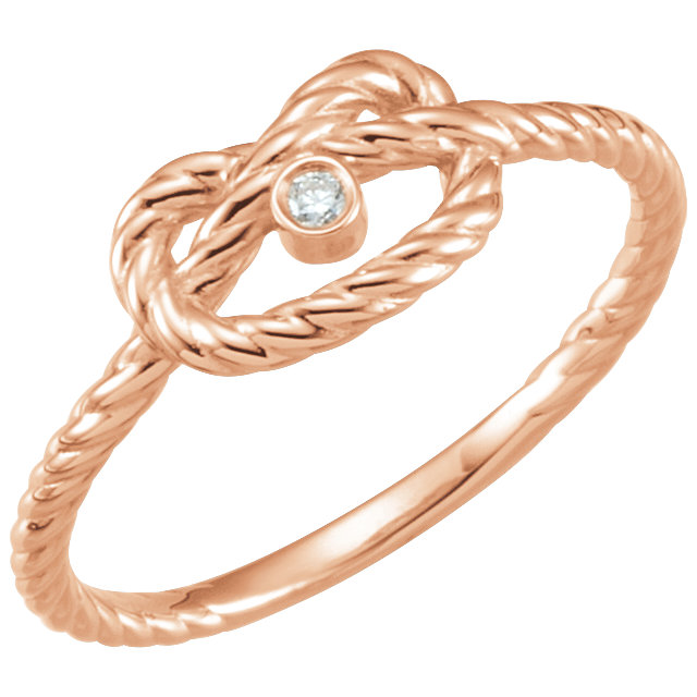 14 Karat Rose Gold .025 Carat Diamond Rope Knot Ring Size 7