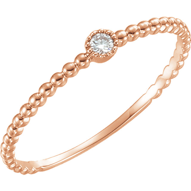 14 Karat Rose Gold .03 Carat Diamond Bead Design Ring Size 7