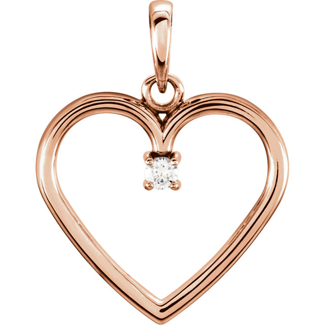 Lovely 14 Karat Rose Gold .03 Carat Total Weight Round Genuine Diamond Heart Pendant