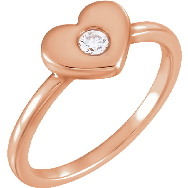 Deal on 14 KT Rose Gold .03 Carat TW Diamond Heart Ring
