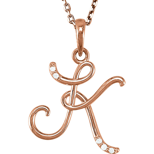 14 Karat Rose Gold .03 Carat Diamond Letter