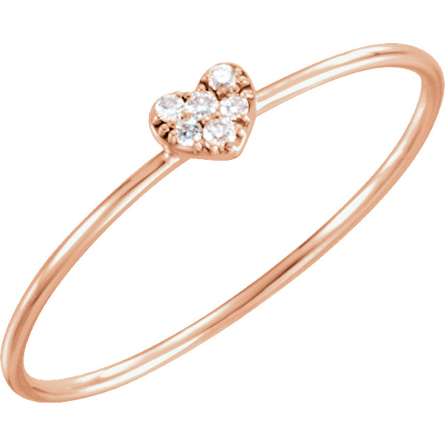 Fine 14 KT Rose Gold .03 Carat TW Diamond Petite Heart Ring