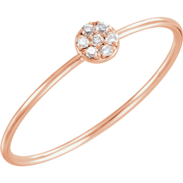 Buy 14 Karat Rose Gold .04 Carat Diamond Petite Circle Ring