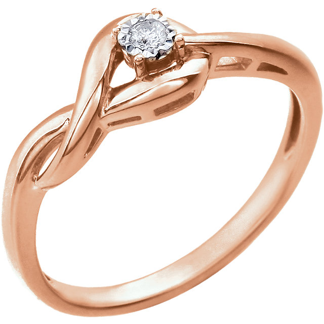 Low Price on 14 KT Rose Gold .04 Carat Diamond Ring