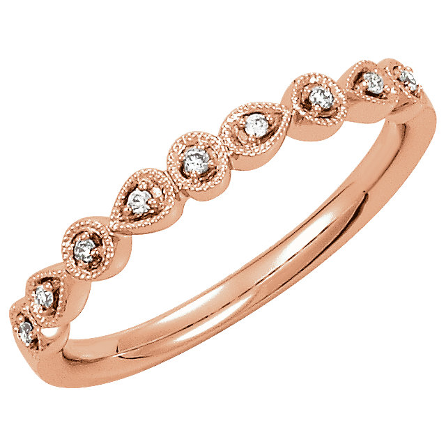 Jewelry Find 14 KT Rose Gold .04 Carat TW Diamond Ring Size 7