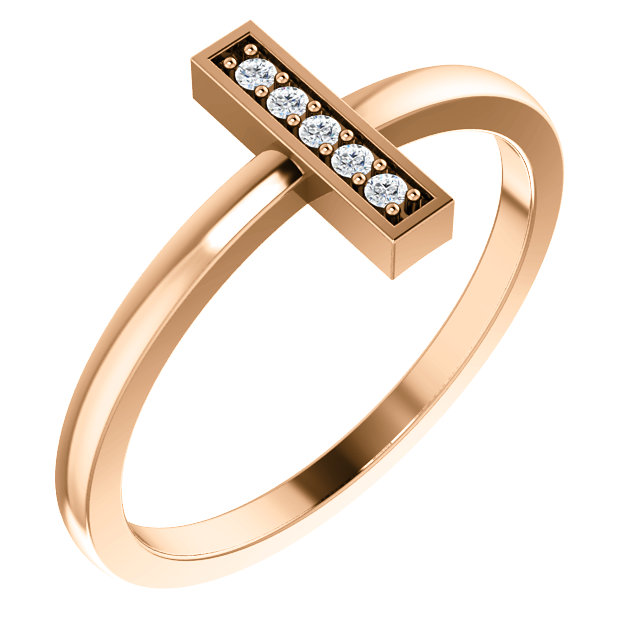 Great Buy in 14 KT Rose Gold .05 Carat TW Diamond Bar Ring