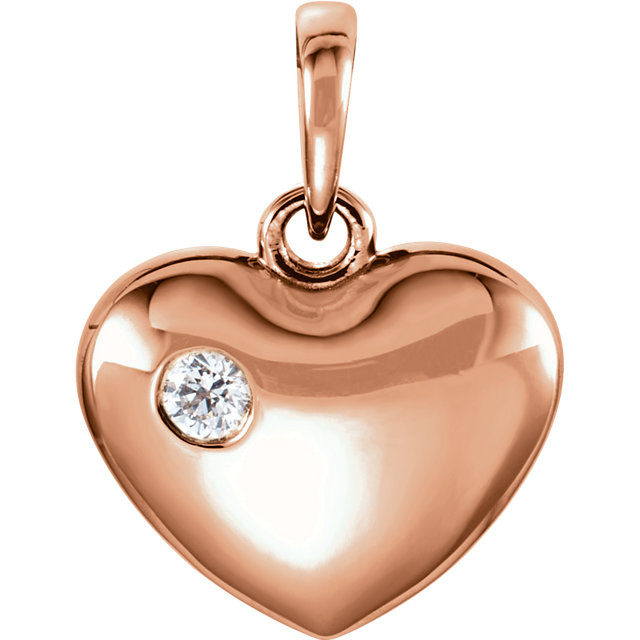 Genuine 14 Karat Rose Gold .05 Carat Diamond Heart Pendant