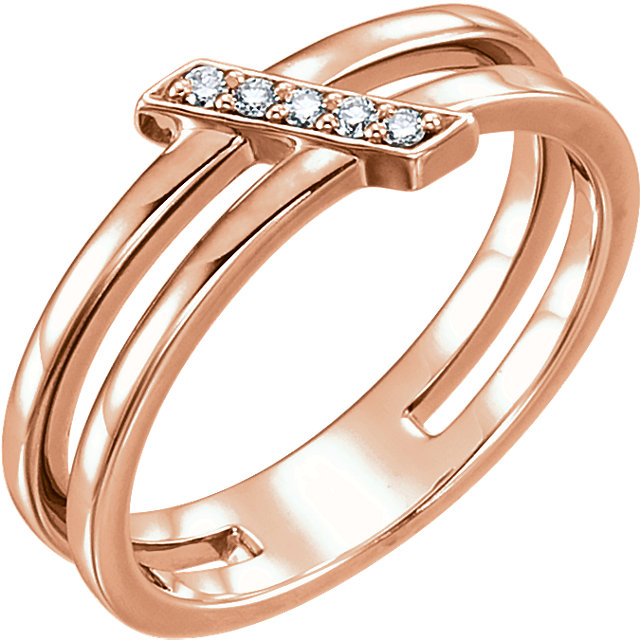Jewelry Find 14 KT Rose Gold .05 Carat TW Diamond Bar Ring