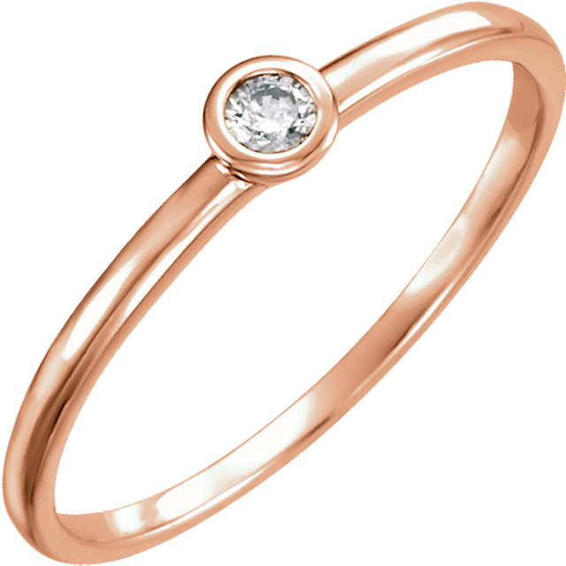Jewelry Find 14 KT Rose Gold .06 Carat TW Diamond Ring