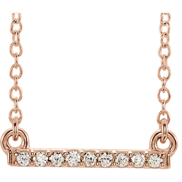 Buy 14 Karat Rose Gold .07 Carat Petite Diamond Bar 16-18