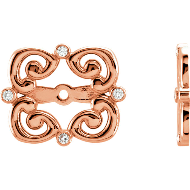 Great Deal in 14 Karat Rose Gold .08 Carat Total Weight Diamond Earring Jackets