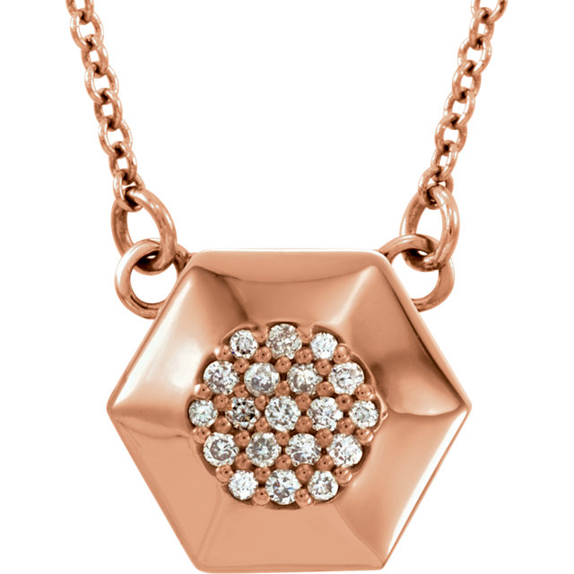 14 Karat Rose Gold .08 Carat Diamond Geometric 16.5
