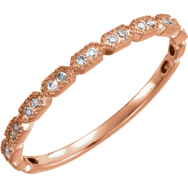Genuine  14 Karat Rose Gold .08 Carat Diamond Ring Size 7