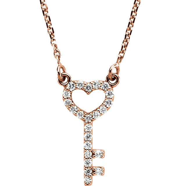 Genuine  14 Karat Rose Gold 0.12 Carat Diamond Petite Heart Key 16.5