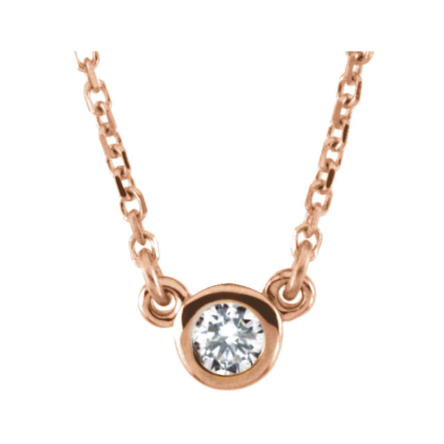 Easy Gift in 14 Karat Rose Gold 0.10 Carat Total Weight Diamond 18