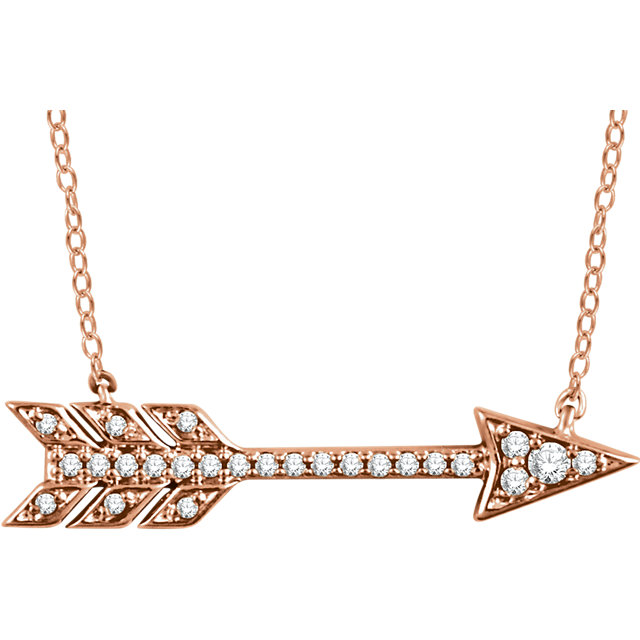 Appealing Jewelry in 14 Karat Rose Gold 0.10 Carat Total Weight Diamond Arrow 18