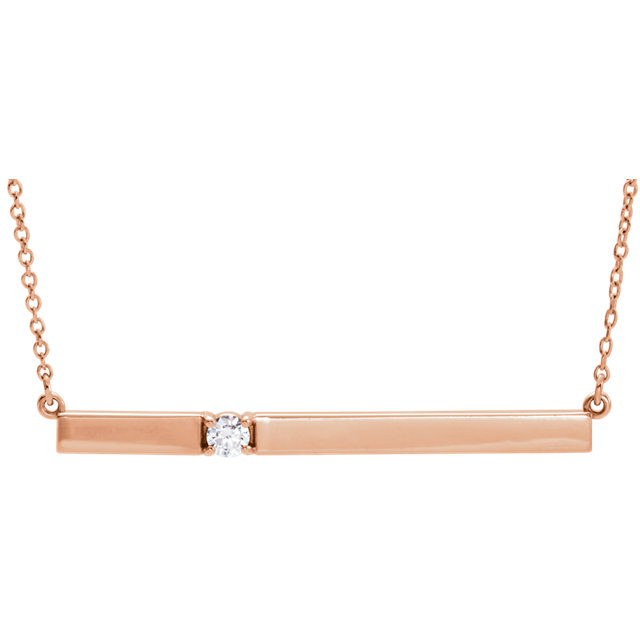14 Karat Rose Gold 0.10 Carat Diamond Bar 17.5