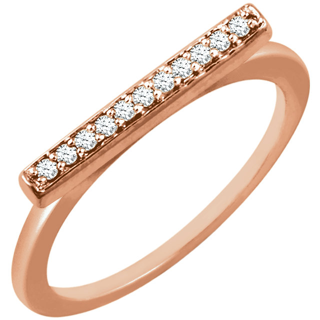 Quality 14 KT Rose Gold 0.10 Carat TW Diamond Bar Ring