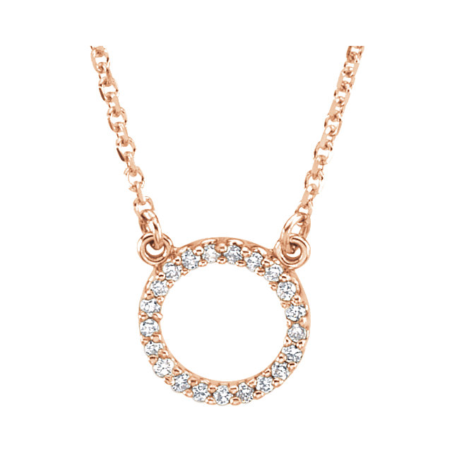 Genuine 14 Karat Rose Gold 0.10 Carat Diamond Circle 16
