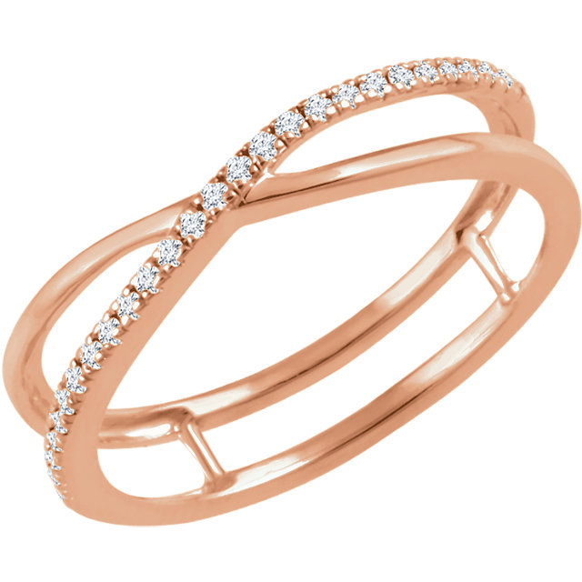 Genuine 14 Karat Rose Gold 0.12 Carat Diamond Criss-Cross Ring