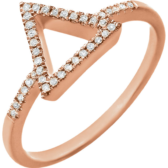 Genuine 14 KT Rose Gold 0.10 Carat TW Diamond Geometric Ring