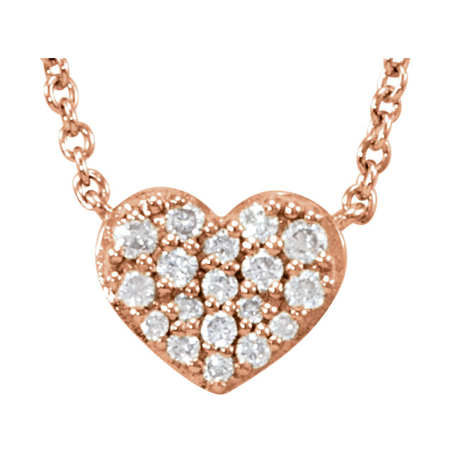 Contemporary 14 Karat Rose Gold 0.10 Carat Total Weight Diamond Heart 18