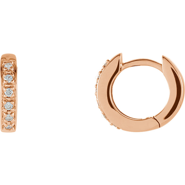 Easy Gift in 14 Karat Rose Gold 0.10 Carat Total Weight Diamond Hoop Earrings