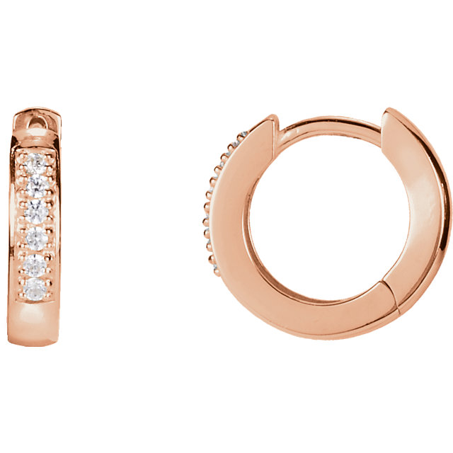 Perfect Jewelry Gift 14 Karat Rose Gold 0.10 Carat Total Weight Diamond Hoop Earrings