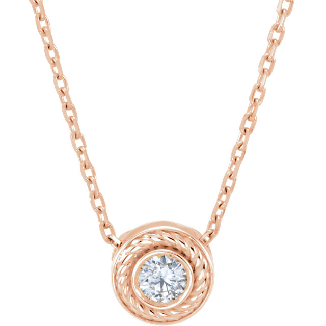 14 Karat Rose Gold 0.10 Carat Diamond 16