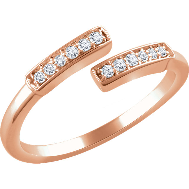 14 Karat Rose Gold 0.10 Carat Diamond Negative Space Bar Ring