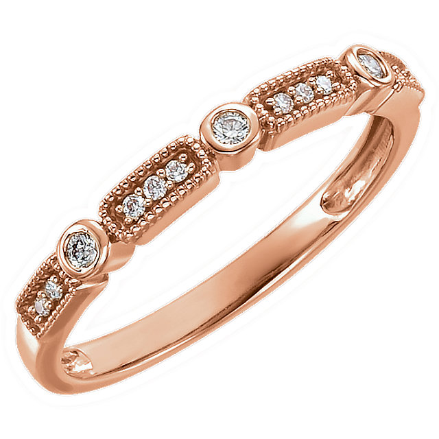Great Deal in 14 Karat Rose Gold 0.10 Carat Total Weight Diamond Stackable Ring