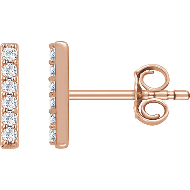 Classic 14 Karat Rose Gold 1/10 Carat Total Weight Round Genuine Diamond Vertical Bar Earrings
