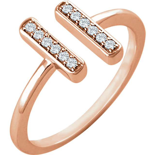 Buy 14 Karat Rose Gold 0.10 Carat Diamond Vertical Bar Ring