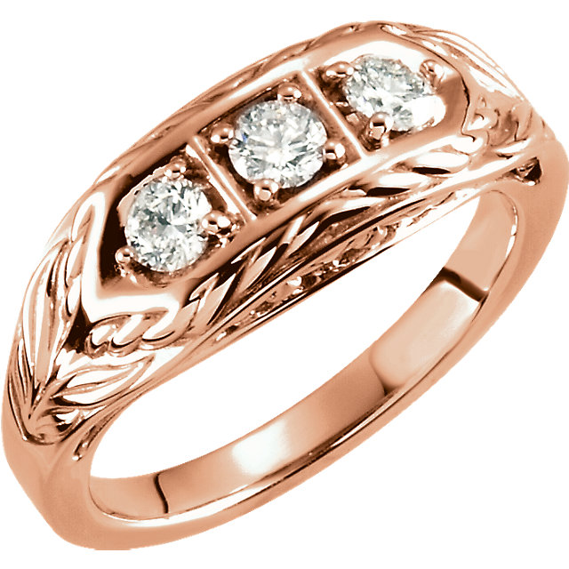 14 Karat Rose Gold 0.50 Carat Diamond 3-Stone Ring