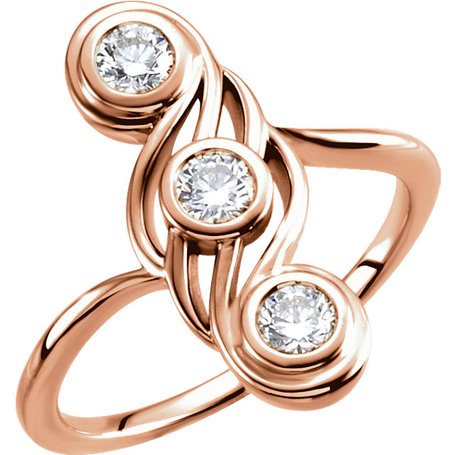 14 Karat Rose Gold 0.50 Carat Diamond Three-Stone Ring