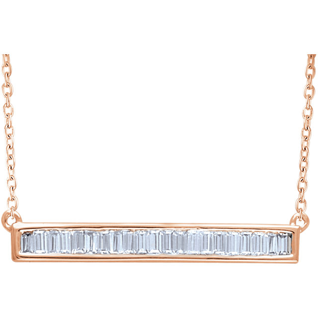 14 Karat Rose Gold 0.50 Carat Diamond Baguette Bar 16-18