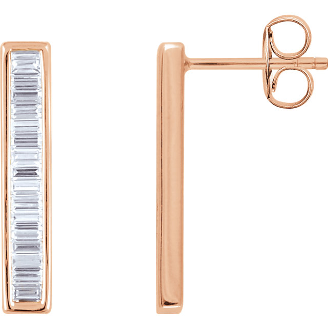 Perfect Gift Idea in 14 Karat Rose Gold 0.50 Carat Total Weight Diamond Baguette Bar Earrings