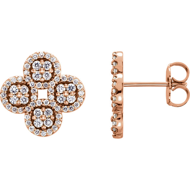 Appealing Jewelry in 14 Karat Rose Gold 0.50 Carat Total Weight Diamond Clover Earrings
