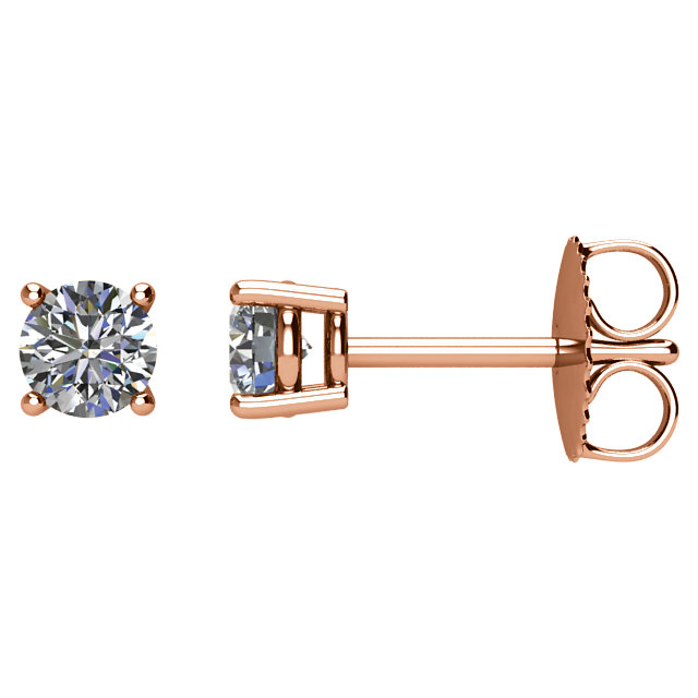 Perfect Gift Idea in 14 Karat Rose Gold 0.50 Carat Total Weight Diamond Earrings
