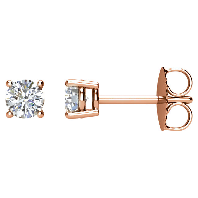 Must See 14 Karat Rose Gold 0.50 Carat Total Weight Diamond Earrings