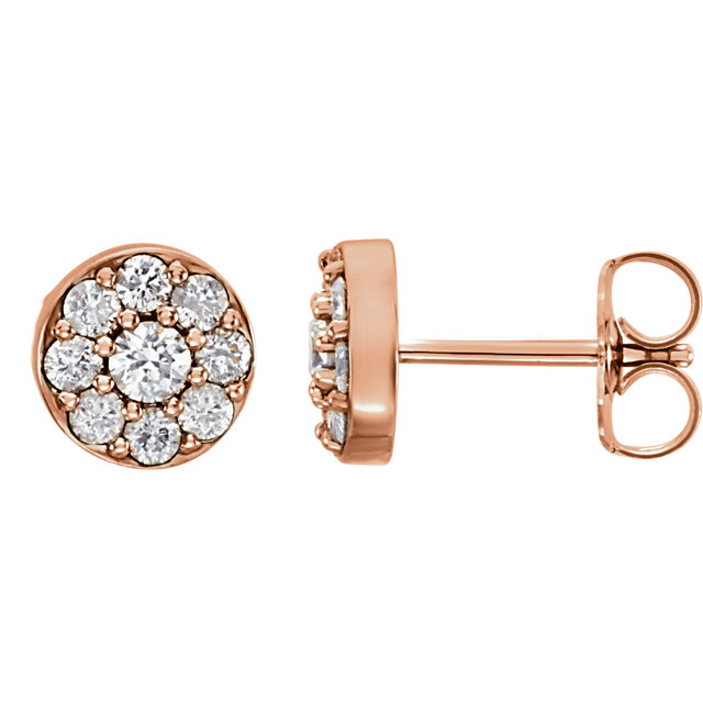 Chic 14 Karat Rose Gold 0.50 Carat Total Weight Diamond Earrings
