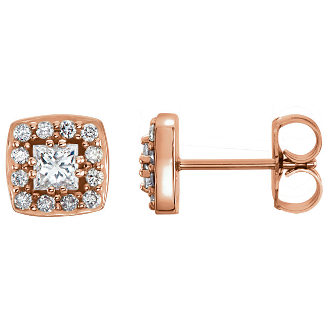 Contemporary 14 Karat Rose Gold 0.50 Carat Total Weight Diamond Earrings