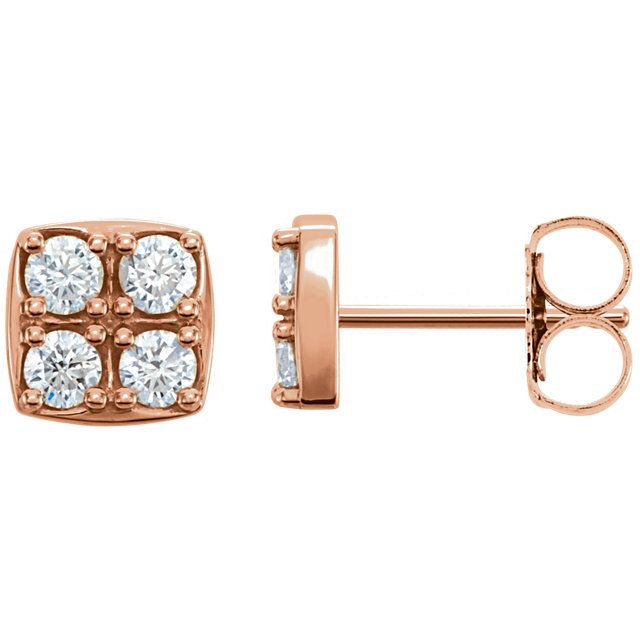 Stunning 14 Karat Rose Gold 0.50 Carat Total Weight Diamond Earrings