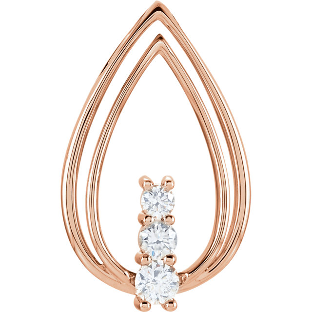 Easy Gift in 14 Karat Rose Gold 0.50 Carat Total Weight Diamond Freeform Pendant