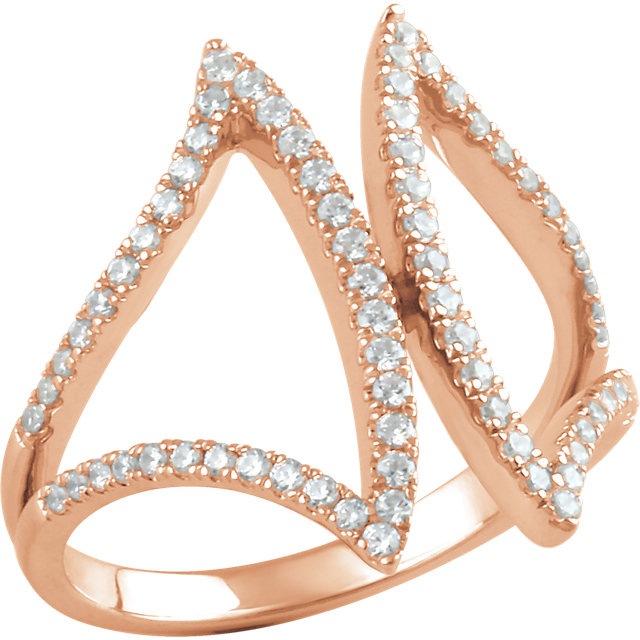 14 KT Rose Gold 1/2 Carat TW Diamond Freeform Ring