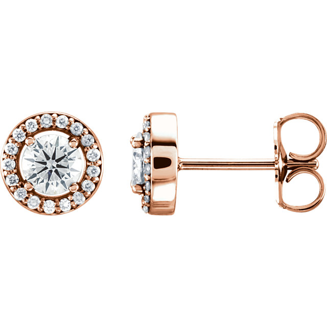 Perfect Jewelry Gift 14 Karat Rose Gold 0.50 Carat Total Weight Diamond Halo-Style Earrings