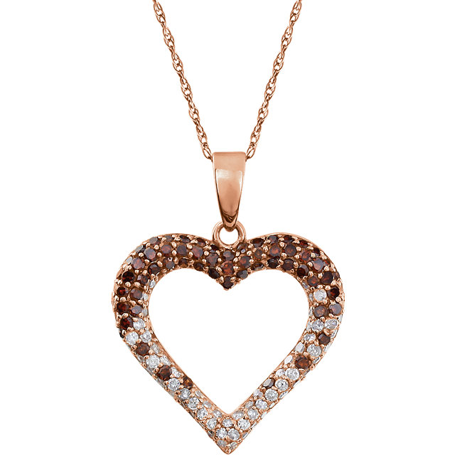 Surprise Her with  14 Karat Rose Gold 0.50 Carat Total Weight Diamond Heart 18