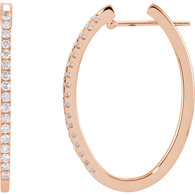 Perfect Gift Idea in 14 Karat Rose Gold 0.50 Carat Total Weight Diamond Hoop Earrings